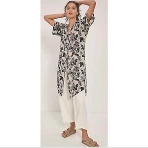 Anthropologie Maeve Rita Printed Tunic Blouse Dress Duster New Large